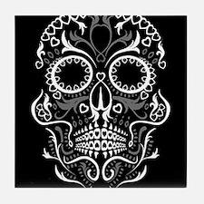 Hear Sugar Skull BLK Tile Coaster