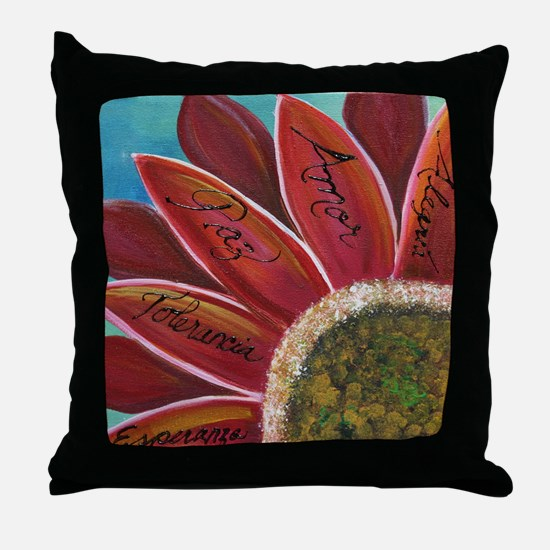 flower with positive words Throw Pillow