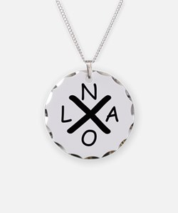 Hurrican Katrina X NOLA blac Necklace Circle Charm