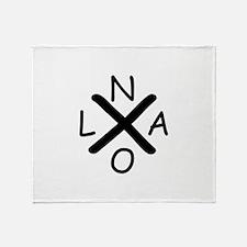 Hurrican Katrina X NOLA black font Throw Blanket