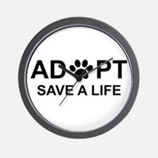 Cute Save a life adopt a pet adoption animal rescue Wall Clock