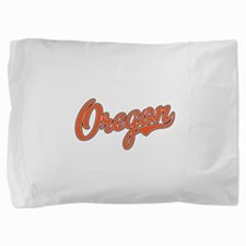Oregon Script Font Orange Pillow Sham