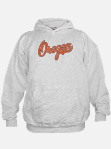 Oregon Script Font Orange Hoodie