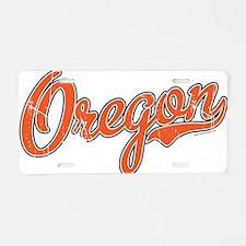 Oregon Script Font Orange Aluminum License Plate