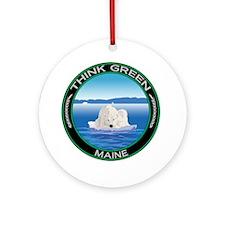 Environmental Polar Bear Maine Ornament (Round)