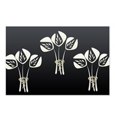 Black White Art Deco Floral Bouquet Postcards (Pac