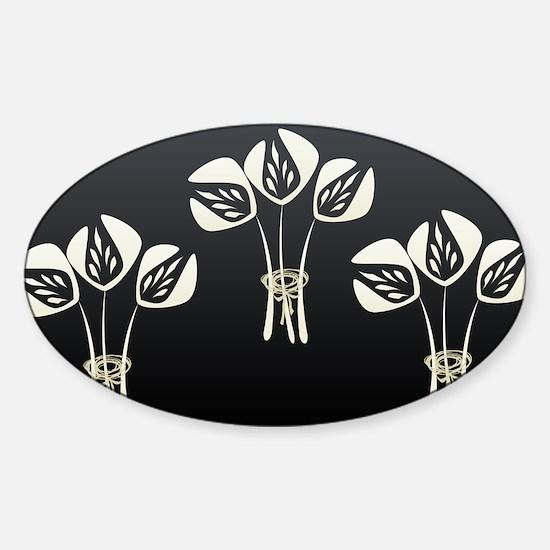 Chic White Tulips Sticker (Oval)