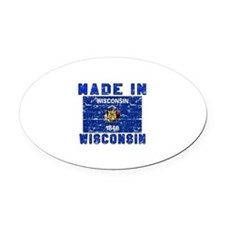 Made In Wisconsin Oval Car Magnet