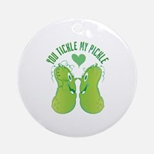 Tickle My Pickle Round Ornament