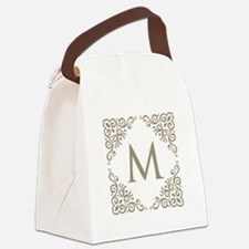 Monogram M Personalized Vintage Canvas Lunch Bag