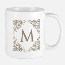 Monogram M Personalized Vintage Mugs