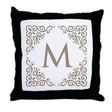 Monogram M Personalized Vintage Throw Pillow