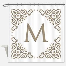 Monogram Vintage Look Shower Curtain
