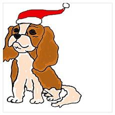 Fun Cavalier Dog Christmas Poster