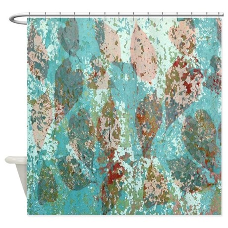 Rustic Modern Turquoise Fall Leaves Shower Curtain By