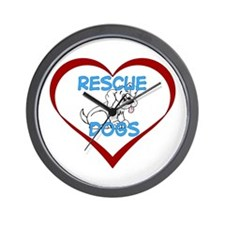 IHeart Rescue Dogs Wall Clock