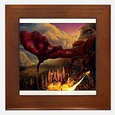 Funny Red dragon fire Framed Tile