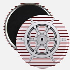 red stripes ship wheel nautical Magnets