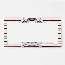 red stripes ship wheel nautic License Plate Holder