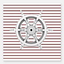"red stripes ship wheel n Square Car Magnet 3"" x 3"""