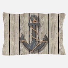 shabby chic wood blue anchor Pillow Case