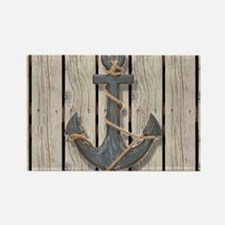 shabby chic wood blue anchor Magnets