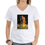 Midsummer / Yorkie Women's V-Neck T-Shirt