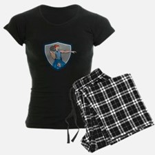 Highland Games Stone Put Throw Crest Retro Pajamas