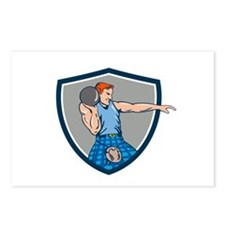 Highland Games Stone Put Throw Crest Retro Postcar