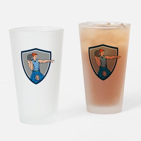 Highland Games Stone Put Throw Crest Retro Drinkin