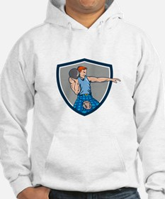 Highland Games Stone Put Throw Crest Retro Hoodie