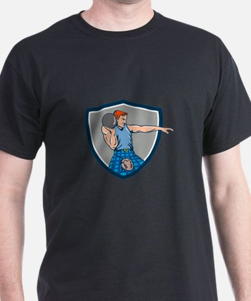 Highland Games Stone Put Throw Crest Retro T-Shirt