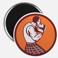 Scotsman Weight Throw Circle Retro Magnets
