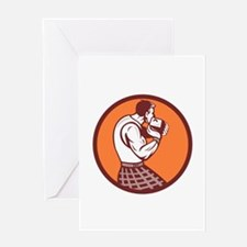Scotsman Weight Throw Circle Retro Greeting Cards