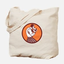 Scotsman Weight Throw Circle Retro Tote Bag