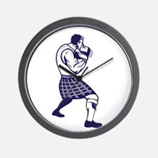 Scotsman Weight Throw Isolated Retro Wall Clock