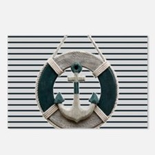 teal grey stripes life sa Postcards (Package of 8)