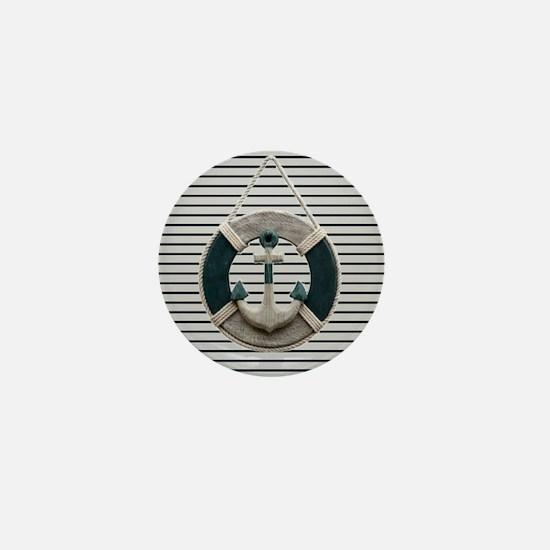 teal grey stripes life saver Mini Button