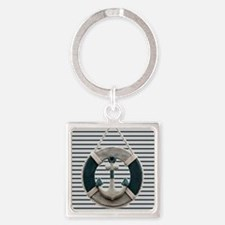 teal grey stripes life saver Keychains