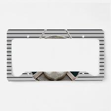 teal grey stripes life saver License Plate Holder