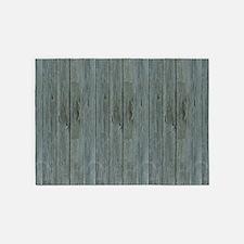 nautical teal beach drift wood 5'x7'Area Rug