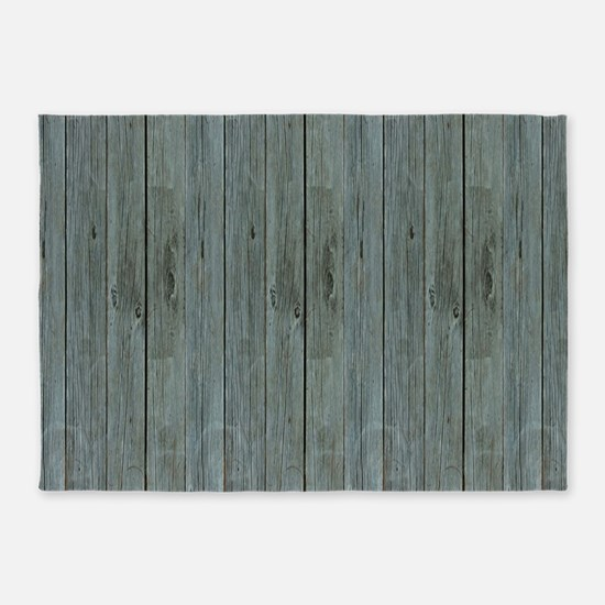 nautical teal beach drift wood 5'x7'Area Rug