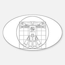Vitruvian robot Oval Decal