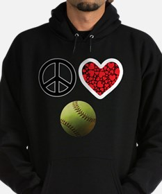 Peace Love Softball Hoodie (dark)