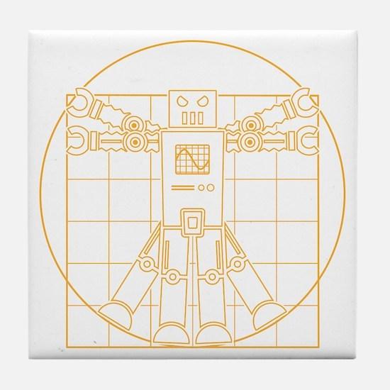 Vitruvian robot Tile Coaster