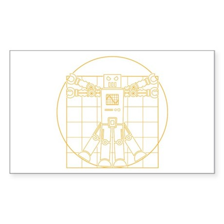 Vitruvian robot Rectangle Sticker
