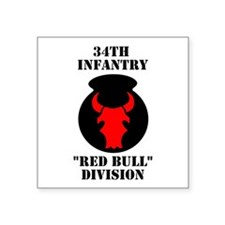 """Cute 34th infantry division red bull Square Sticker 3"""" x 3"""""""
