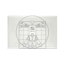 Vitruvian robot Rectangle Magnet
