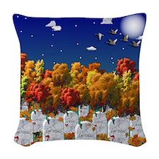 Spooky Graveyard Halloween Woven Throw Pillow
