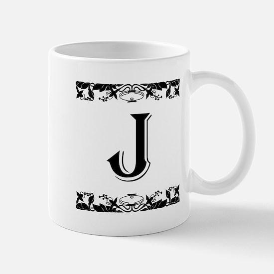 Roman Style Letter J Mugs